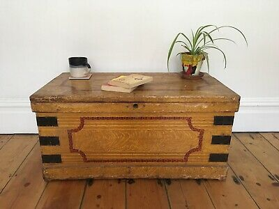 Antique Victorian Painted Pine Faux Grained Box Trunk Coffee Table
