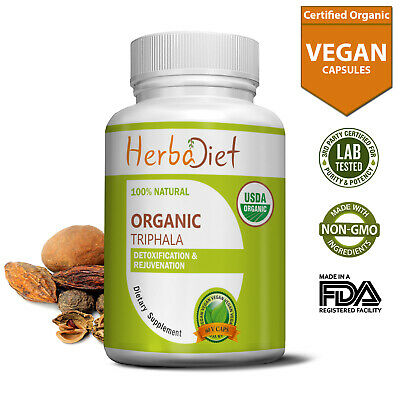 Organic TRIPHALA Vegetarian Capsules PURE Digestive Support Herbal Colon Cleanse