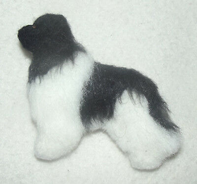 LANDSEER NEWFOUNDLAND dog. Part NEEDLE FELTED SOFT BROOCH. Hand made