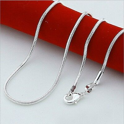 """925 Sterling Silver 1.2mm Snake Chain Necklace Rope Pendant 16 18 20 22 24"""""""