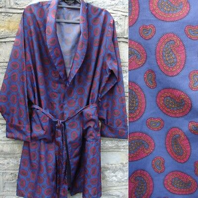 VTG Men's PROVA Silky PAISLEY BLUE RED Tan SMOKING JACKET Robe DRESSING GOWN M/L