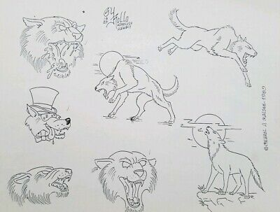 vintage '89 mike rollo malone china sea NOS tattoo produx flash lone wolf wolves