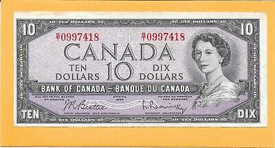 1954 Canadian 10 Dollar Bill S/T0997418 Nice (Circulated)
