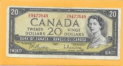 1954 Canadian 20 Dollar Bill U/E9472648 (Circulated)