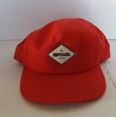 c63ff5d9de25da Rip Curl Men's Hat Baseball Cap White Logo Diamond Logo Patch On Red Snap  Back