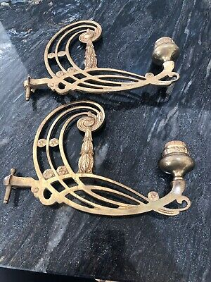 Pair Off Reclaimed Antique Brass Victorian Piano Candle Wall Sconce Holders