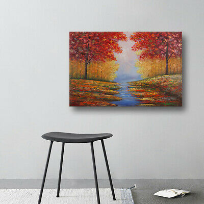 Hand Painted Maple Trees Landscape Oil Painting On Canvas Wall Art Decor Framed
