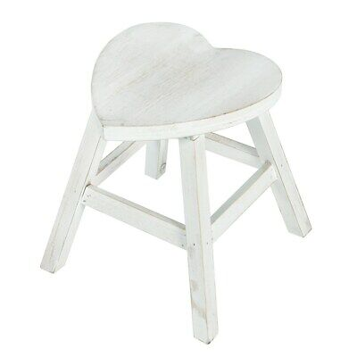 Shabby Chic White Wash Effect Heart Shaped Wood Wooden Stool Wedding Home Gift