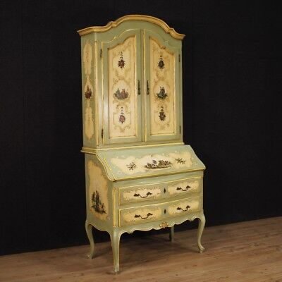 Trumeau Italian Lacquered Furniture Cupboard Wooden Painting Antique Style