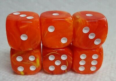 """My! My *Six* 16mm Chessex Leaf Steel w//Gold Letter /""""G/"""" /&  Gold Pips Dice My"""