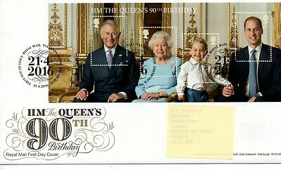 GB - FIRST DAY COVER - FDC - MINI SHEET -2016- HM Queen's 90th Birthday - Pmk TH