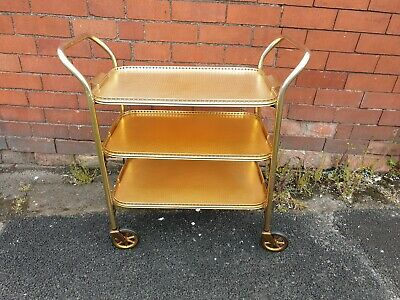 Vintage Mid Century Gold Drinks Serving Trolley