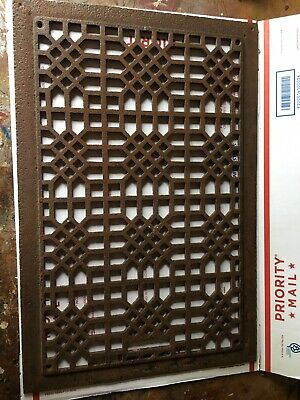 Ornate Cast Iron Grate Vintage Wall Floor Register Vent Art Deco