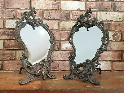 Vintage Pair Of Bronzed Cast Decorative French Mirrors
