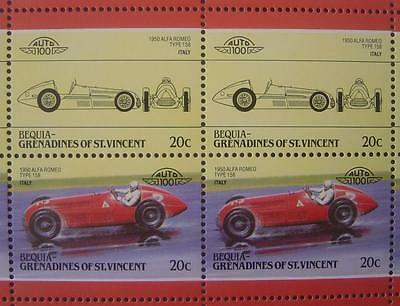 1950 ALFA ROMEO Type 158 Race Car 50-Stamp Sheet / Auto 100 Leaders of the World