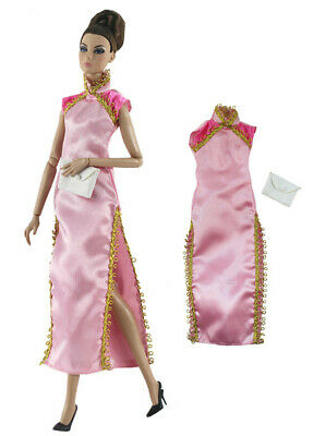 Chinese cheongsam Qipao Princess long Gown+bag For 11 in. Doll c03