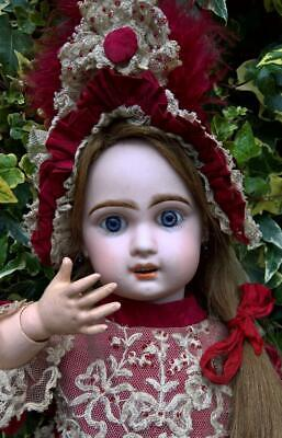 "Antique 22"" Rare French Bebe Jumeau Size 8 Bisque Head Kiss Throwing Doll  c1890"