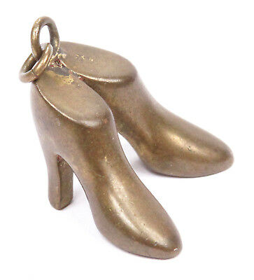 Vintage Antique Pendant Charm Pair High Heel Shoes Stilleto 1920's - 1950's Old