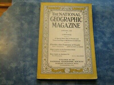 ANTIQUE NATIONAL GEOGRAPHIC January 1930 FLORIDA -FOUNTAIN OF YOUTH Ancient Ur