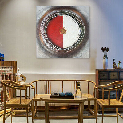 Abstract Circles - Original Decorative Handmade Oil Painting on Canvas - Framed