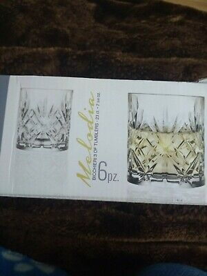 Set of 6X RCR Italian Crystal Melodia Whiskey Glass Gift/Presentation Box 23cl
