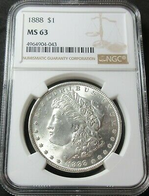 1888 Morgan Silver Dollar Coin - Ngc Ms 63