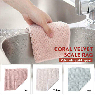 B9A1 2pcs Wiping Cloth Kitchen Cleaning Cloth Coral Fleece Dish Towel Reusable