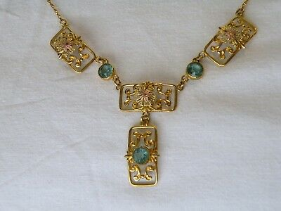 Vtg Art Nouveau necklace Y Gold filled w Rose Gold plated accents, Synth Zircon