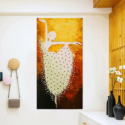 Hand Painted Modern Abstract Canvas Art Oil Painting - Ballet Dancer Framed