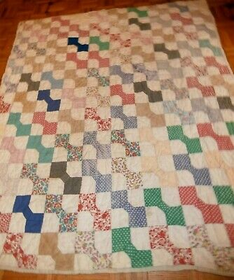 "Antique Bow tie pattern quilt 62"" x 72"" early fabrics, old sack cloth back"