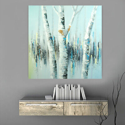 Hand Painted Modern Oil Painting Canvas Wall Art Home Decor Framed White Birch