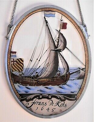 Stainless framed STAINED GLASS window hanging, FRANS DE KETS, 1645 Dutch mariner