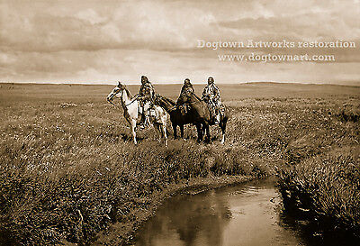 Restored Vintage Native American Blackfeet Tribe Indian Photo THREE CHIEFS Horse