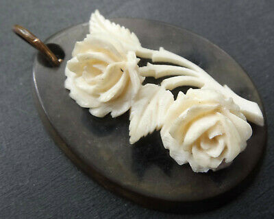 antique Victorian VULCANITE jet black cream carved rose flower pendant -K75