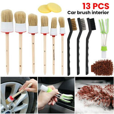 12/13Pcs Car Detailing Brush Kit Boar Hair Vehicle Auto Interior Wheel Clean New