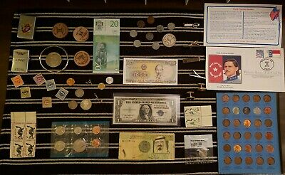 Junk Drawer Lot: Old U.S. Coins, Scrap Silver,  Wheat Pennies, Currency ++