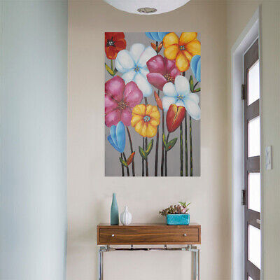Colorful Flowers Hand Painted Canvas Oil Painting Genuine Wall Decor Framed
