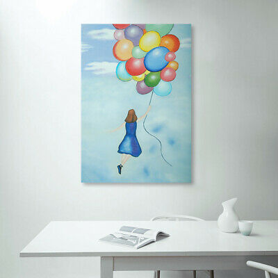 Abstract Balloon Girl Hand Painted Art Canvas Oil Painting Home Decor Framed