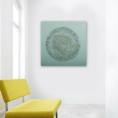 Modern Hand Painted Art Canvas Oil Painting Home Decor Framed Silver Circles