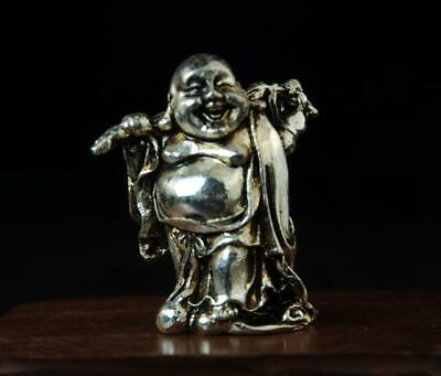 chinese old cooper-plating silver maitreya buddha and gourd statue