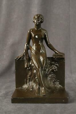 VINTAGE Metalware Art Nouveau Single Reclining Lady Nude Bookend Brown Spelter