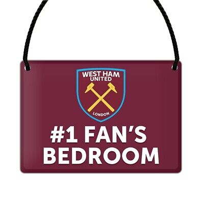 Official West Ham United Football Club NO1 Fan Bedroom Hanging Sign Gift