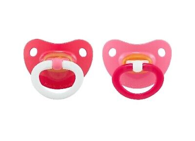 Nuk Baby Girl 2-Pack Latex Orthodontic Pacifiers Red/Pink Size 18-36M