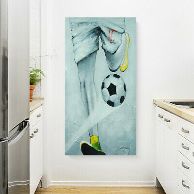 Modern Abstract Hand Painted Oil Painting Wall Art Canvas Framed Soccer Player