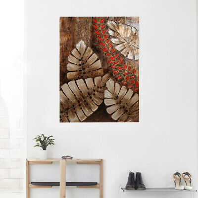 Modern Abstract Hand Painted Canvas Oil Painting Home Decor Framed Banana Leaf