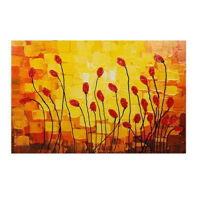 Wood Frame Abstract Hand Painted Art Oil Painting Stretched Canvas Lily Bud