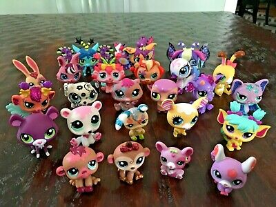 Lot of 24 Littlest Pet Shop LPS Figures - Colorful Exotic Winged Fairy Glitter