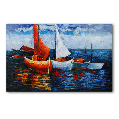 Abstract Sailboat Hand Painted Art Oil Painting Canvas Modern Home Decor Framed