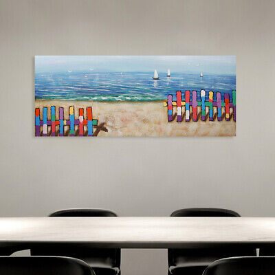 Modern Hand Painted Art Canvas Oil Painting Home Decor Framed - Seaside Fence