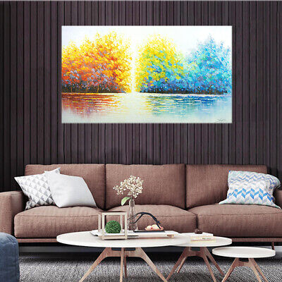 Abstract Trees Hand Painted Art Canvas Oil Painting Modern Home Decor Framed